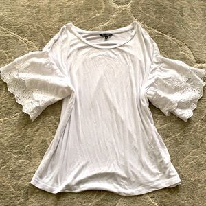 George Flutter Lace Sleeve T Shirt